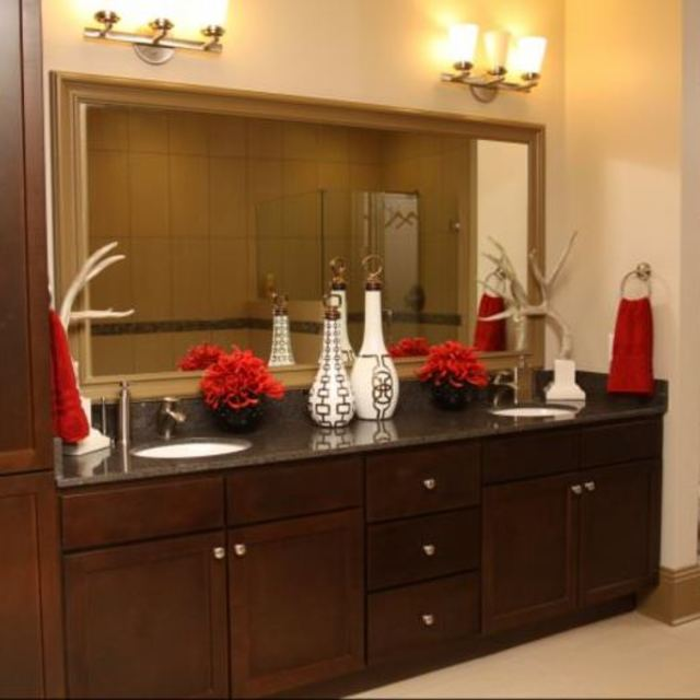 The Fountains at Memorial City - Bathroom Large Mirror with Hardwood Cabinetry