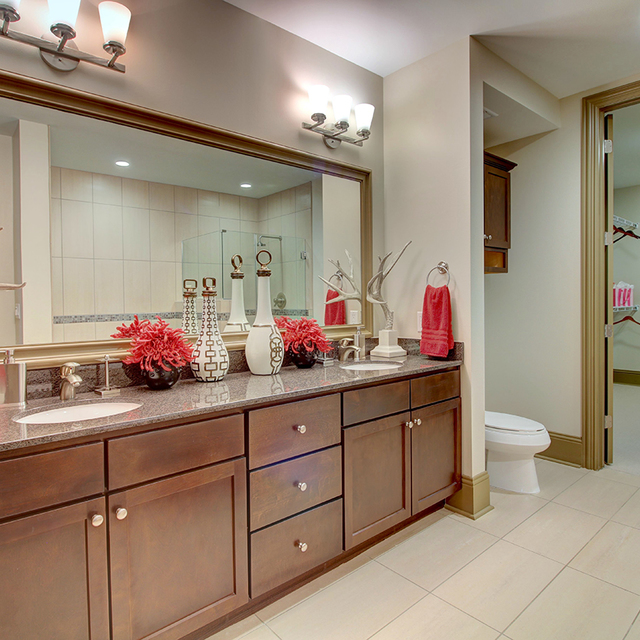 The Fountains at Memorial City - Modern-Style Bathroom Mirror with Hardwood Cabinetry